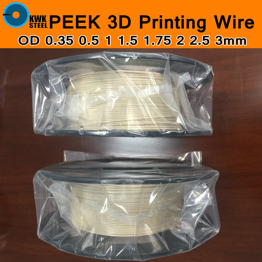 PEEK Printing Material For 3D Printer Grade 450G 100% Pure Polyetheretherketone Thermoplastic Conform Extrusion Wire 1.75mm DIY