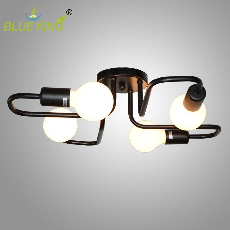 Lampes de plafond de fer personnelles simples modernes araignée de bâti affleurant bref luminaire industriel mené à la maison 4/6/8 lumières