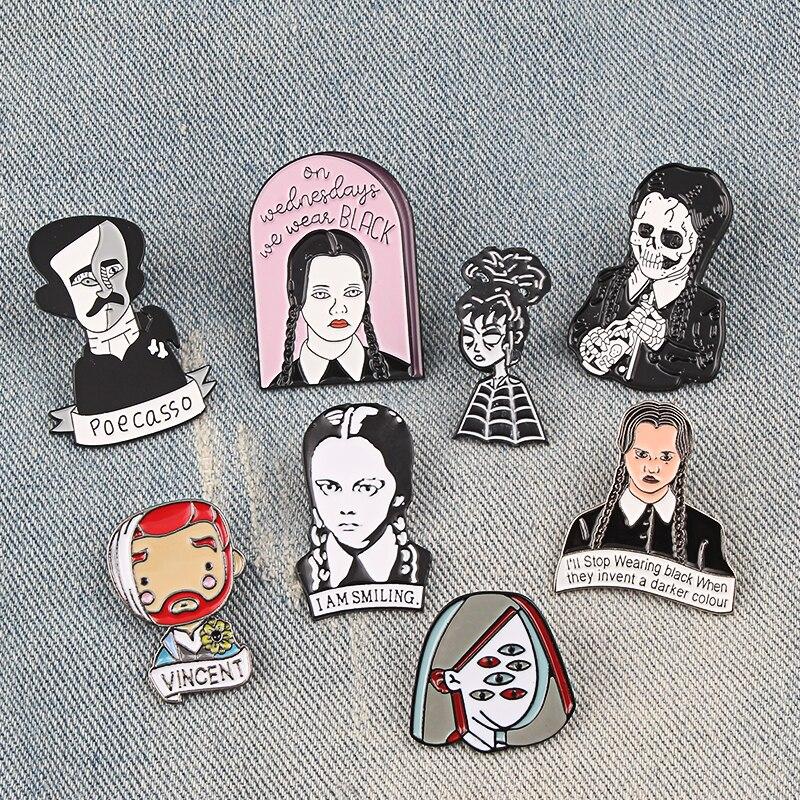 Girl Pins Brooches Writer Badge Punk Jewelry Gif Rock Character Enamel-Pin Lapel Adams Family