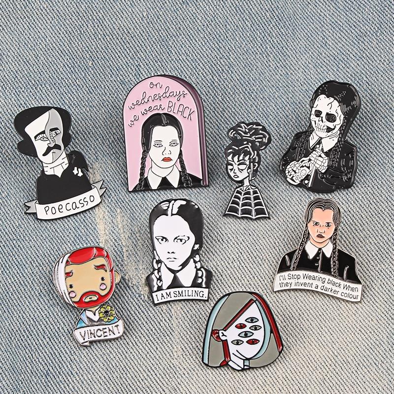 Cartoon Character Enamel pin Adams Family Girl Brooches multi-eye girl Pins Famous Poet writer Rock Lapel Badge punk Jewelry Gif