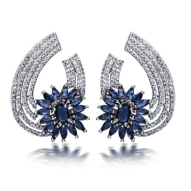 Lujo cubiz zirconia joyería vintage CZ diamond stud pendientes plateados oro verdadero clips oído de la joyería piercing oreille femme