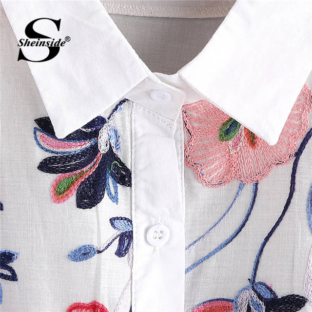 b42f6b4086ecf9 placeholder Sheinside White Floral Embroidery Shirt Women Roll Up Sleeve  Button Top 2018 Summer Short Sleeve Office
