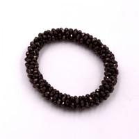Fashion Woven Dark Borwn Crystal Stretch Stacking Bangle Bracelet