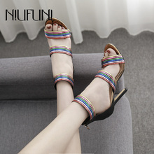 Fashion Color Matching Women's Sandals Stiletto High Heels 2019 New Summer Casual Sexy Hollow zipper Round Head Ladies Shoes цена 2017