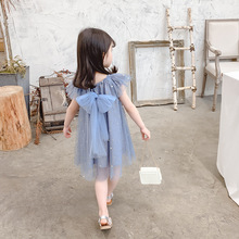цены на Children Summer Dress 2019 Fashion Kids Clothes Girl Party Sleeveless Stars Mesh Princess Dress Flower Girls Dress For 2-8Years  в интернет-магазинах