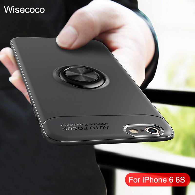 on sale 40cd7 de1b1 Magnetic Finger Ring Holder Phone Cases For Iphone 6 6s Case For iphone6s S  luxury silicone Back Cover For apple I phone6 Coque