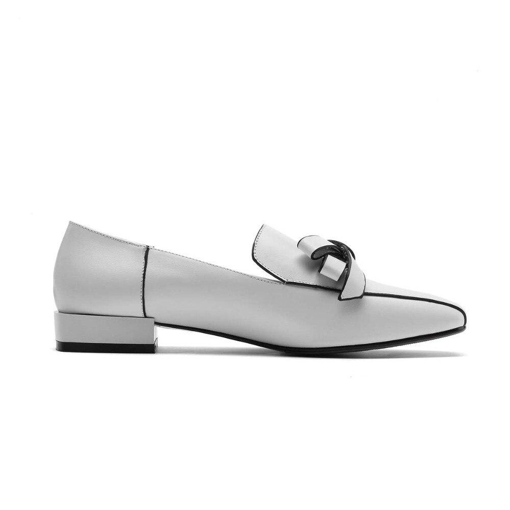 Style En Bas Cuir 2019 Slip L47 Sur Talons La Rétro blanc Pompes noeud Papillon Concise Chaussures Marque Véritable Taille Bout Carré Noir Décoration Plus qCyywE0t