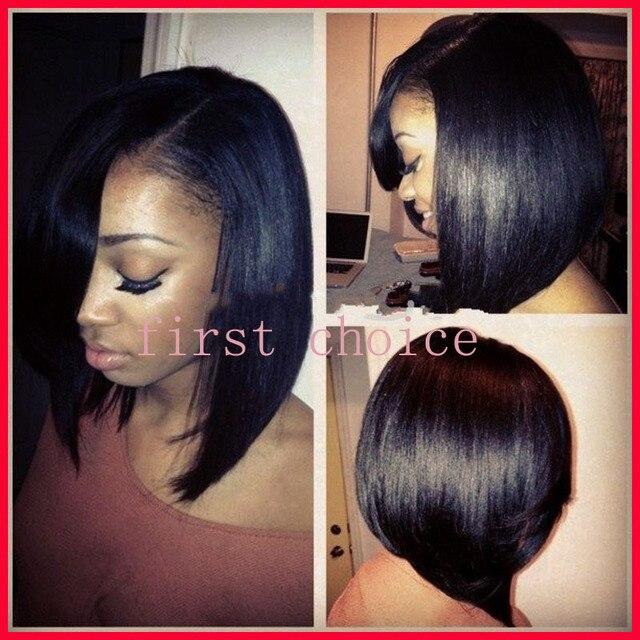 Moda naturale neri lisci caschetto corto stile femminile taglio di capelli  parrucca anteriore del merletto sintetico 1b2920e909d3