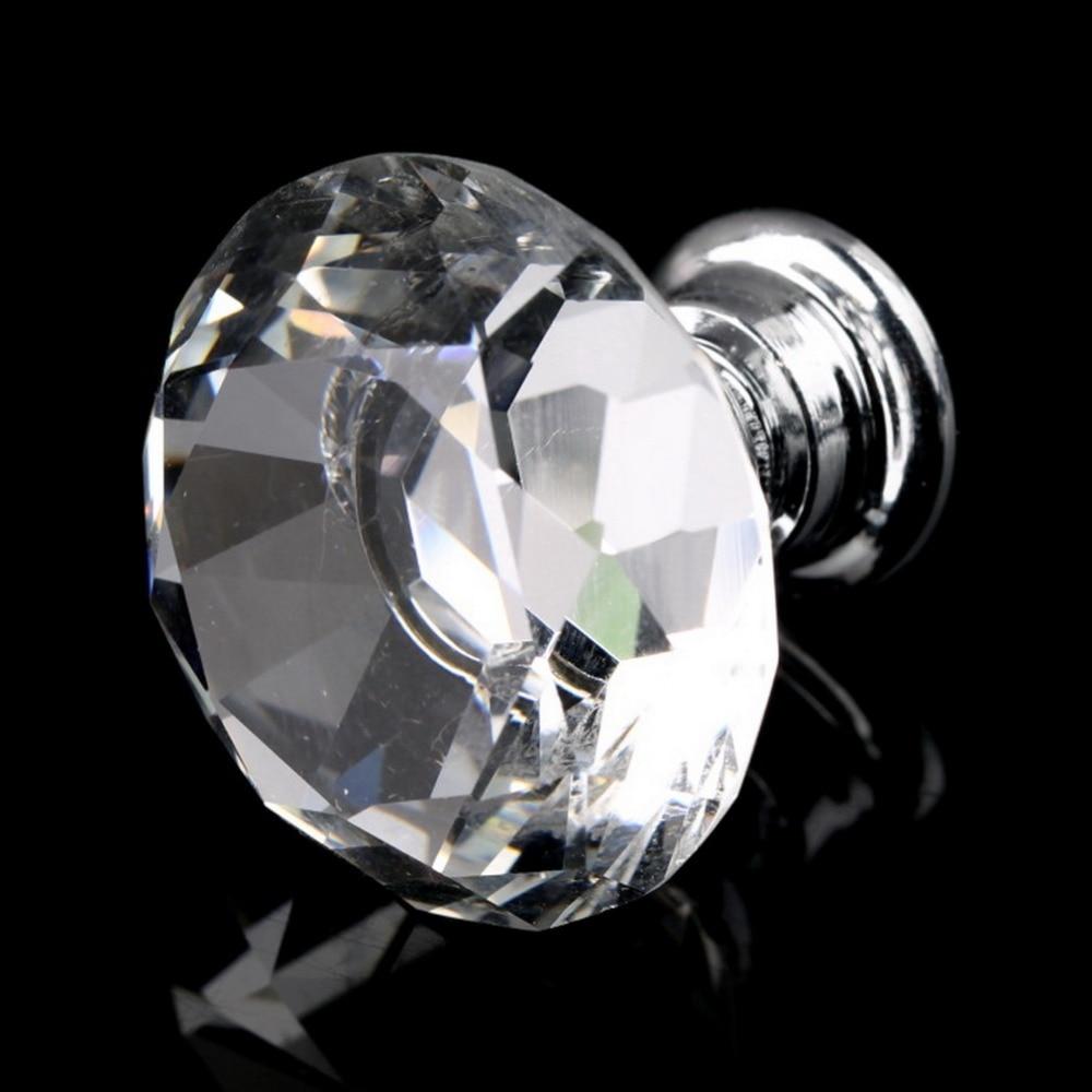 1pack 10 Pcs 30mm Diamond Shape Crystal Glass Drawer Cabinet Knob Pull Handle Kitchen Door Wardrobe