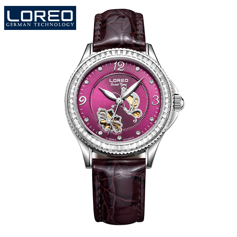 LOREO diamond butterfly skeleton automatic mechanical Pearl dial distinguished luxury waterproof leather strap lady watch loreo luxury brand austria diamond automatic mechanical pearl dial inlay diamond sapphire calendar water resistant lady watch
