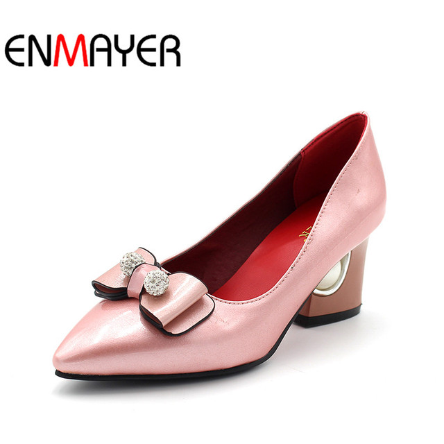 dcd0c80bf9f0 ENMAYER Slip on Mixed Colors Women Pumps Shoes Pointed Toe Bowknot Bowtie  Strange Style Heels Crystal