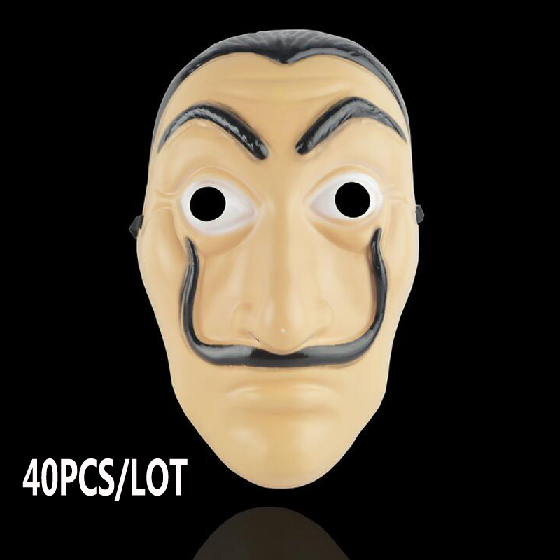 40PCS/LOT Wholesale  La Casa De Papel Mask Salvador Dali Plastic Face Funny Mask Costumes Cosplay Masque Mascara Dali Mask