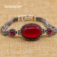 KJJEAXCMY S925 Handmade Sterling Silver Jewelry Thailand Color It Thai White Corundum Ladies Bracelet