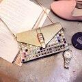2016 Моды женщина бренд мини сумки конверт сцепления женщин сумки креста тела плеча алмазов сумка женская сумочка Bolsos