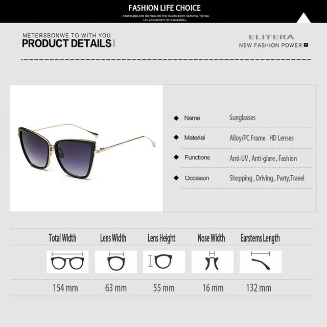 ELITERA Fashion Women Sunglasses Cat Mirror Glasses Metal Cat Eye Sunglasses Women Brand Designer High Quality Square UV400