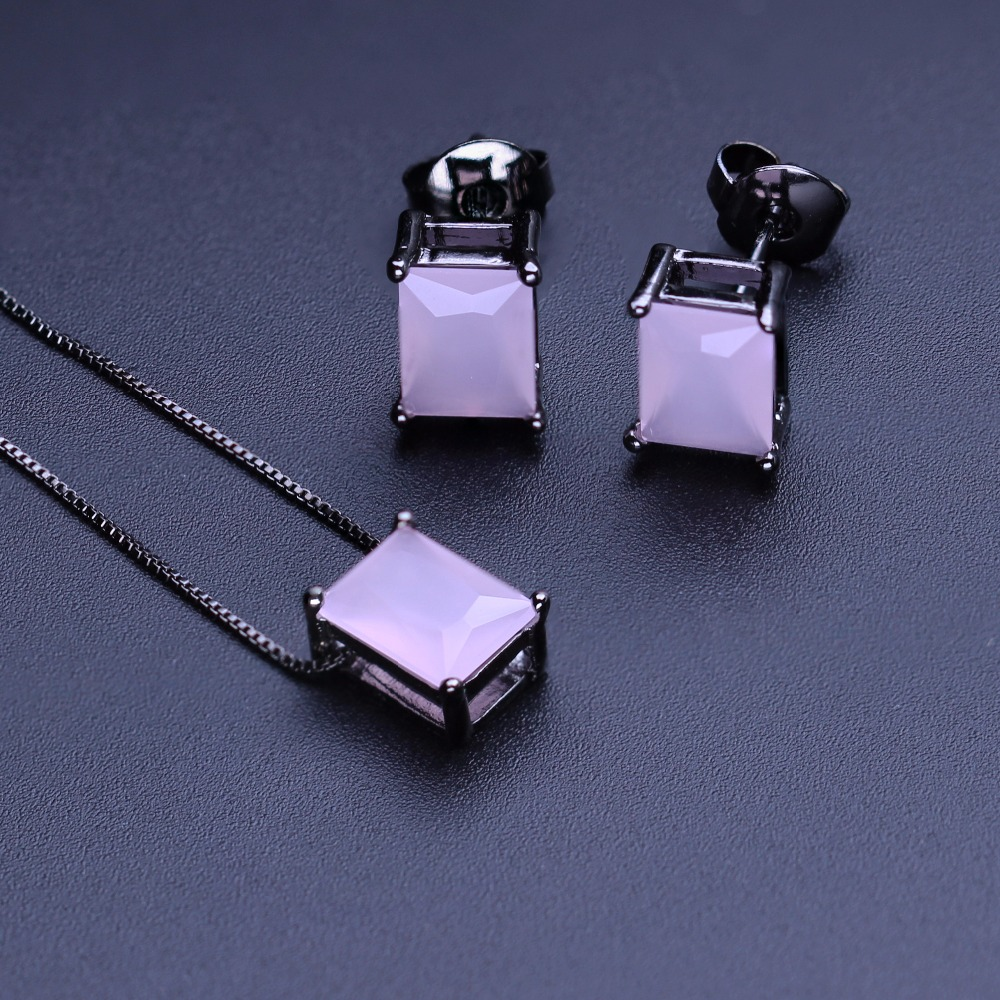 KINFORSE Fashion Milky Pink Jewelry Sets Square Stone Pendant Necklace&Stud Earrings for Women Fashion Jewelry Party Gift JWX012KINFORSE Fashion Milky Pink Jewelry Sets Square Stone Pendant Necklace&Stud Earrings for Women Fashion Jewelry Party Gift JWX012