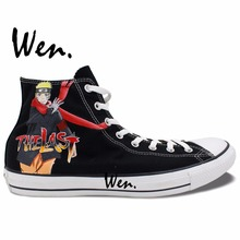 Wen Anime Hand Painted Shoes Naruto Movie The LAST Woman Man s High Top Canvas Sneakers