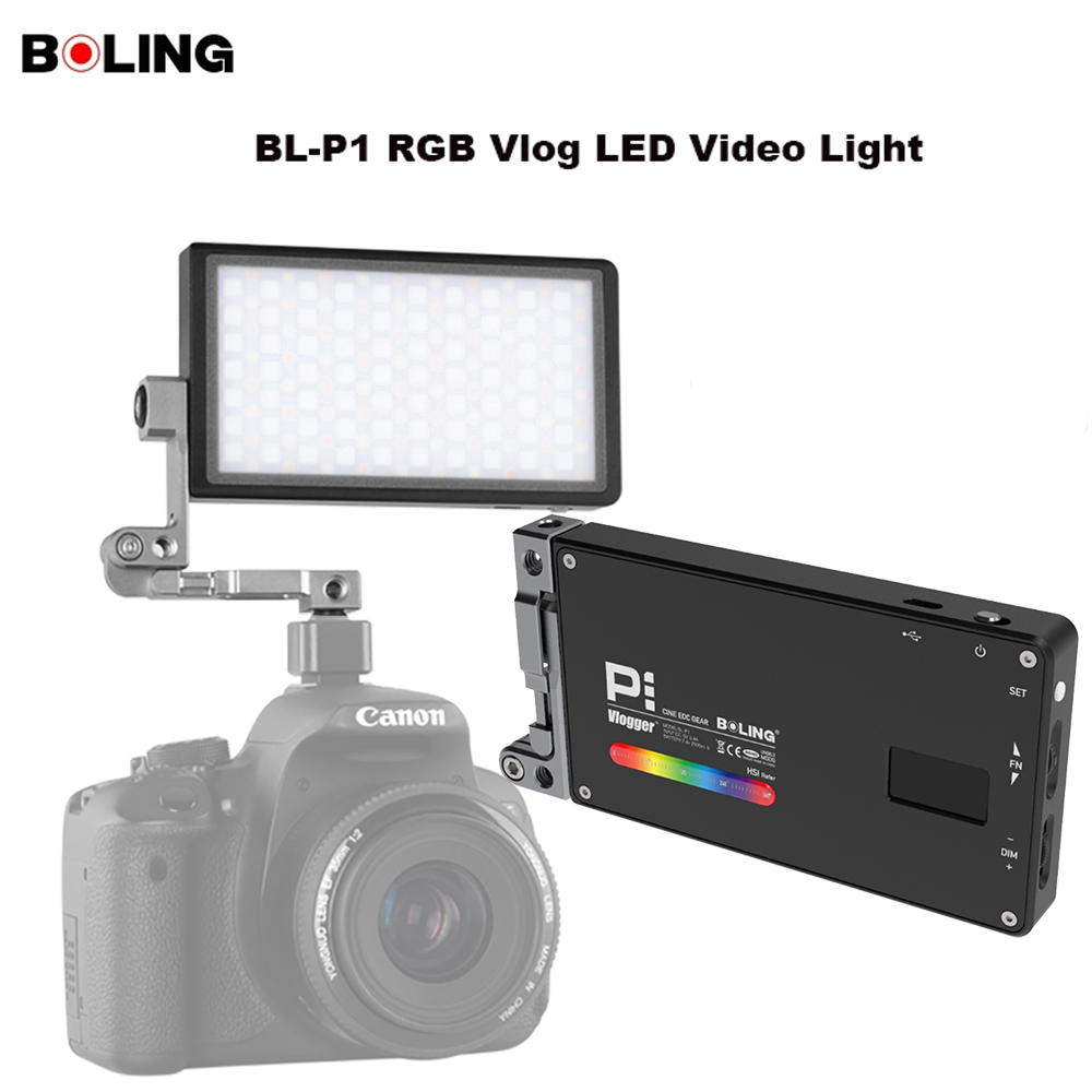 Original Boling BL P1 RGB LED Luz de vídeo regulable a todo Color estudio Vlog fotografía iluminación con soporte 360 para cámara DSLR-in Kit de iluminación fotográfica from Productos electrónicos    1