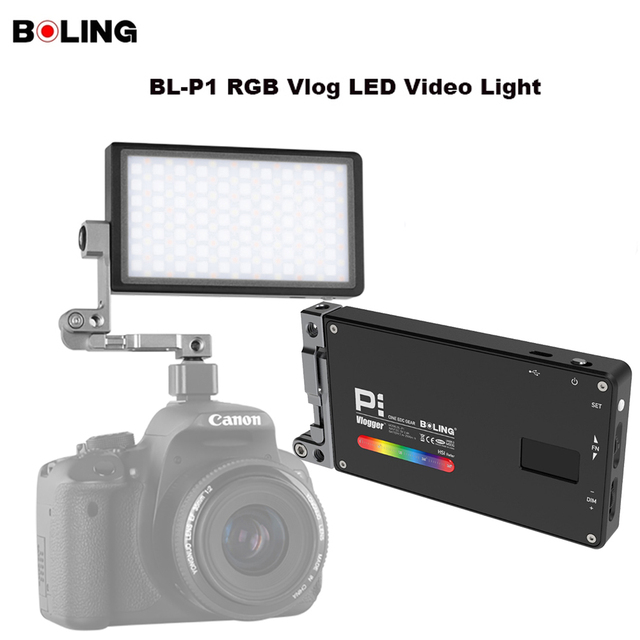 Original Boling BL P1 RGB LED Video Light Dimmable Full Color Studio Vlog Photography Lighting with 360 Bracket for DSLR Camera