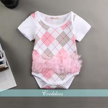 3Pcs/lot Newborn Cute Pink Plaid Rompers Short Sleeve