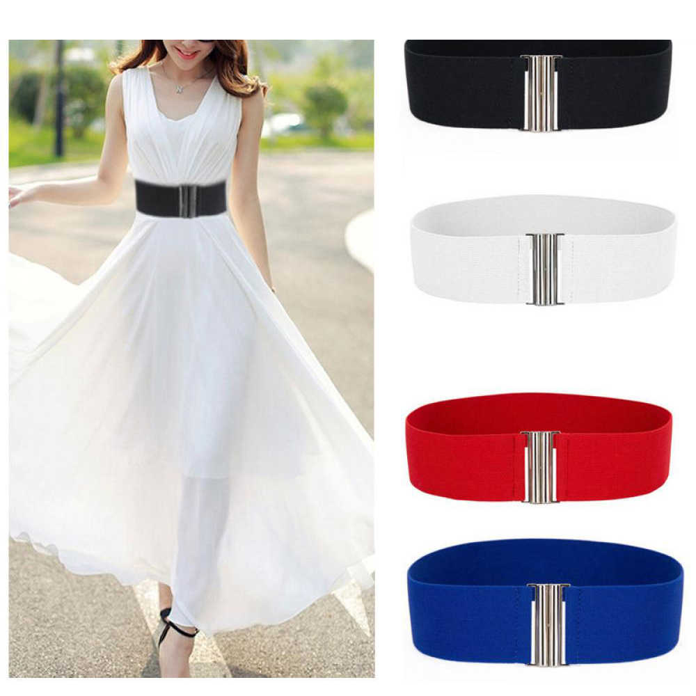 1PC Summer Women Stretch Elastic Wide Corset Waist Belts Silver Metal Buckle Fabric Strap Female Apparel Accessories Dress Waist