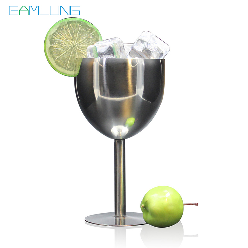 Gamlung Brand Stainless Steel Wine Glasses Goblets Elegant Drinking Cup Champagne Glass Water Mug For Party