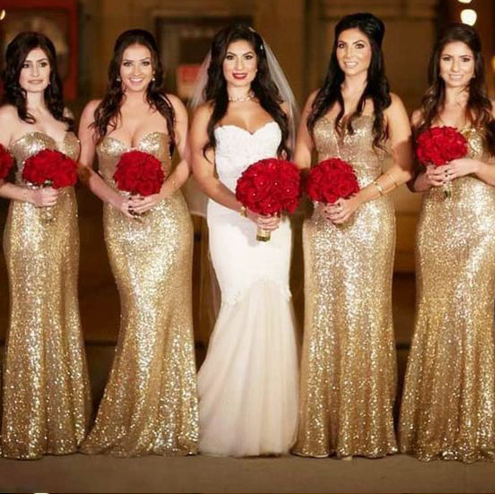 sequins bridesmaid dresses 2020 sweetheart neckline sparkly gold mermaid wedding guest dresses long party dress for wedding(China)
