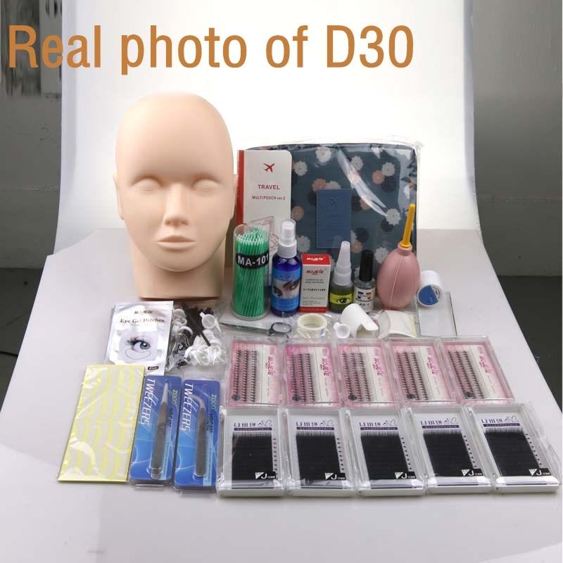 Pro Training Eyelashes kit False Eyelash Extension Grafting Practice Curl Glue Tweezer Tools Set Bag For