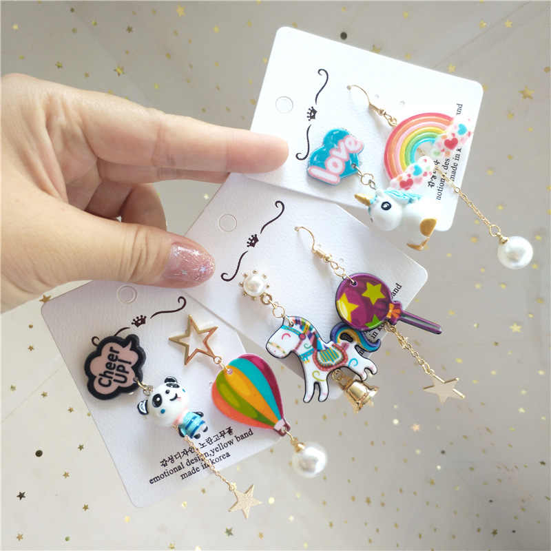Korean Cute Designer Asymmetric Panda Horse Rainbow 2019 Dangle Drop Earrings Women Fashion Jewelry Accessories Wholesale-JQD5