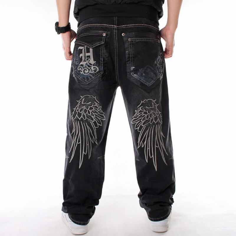 Men Street Dance Hiphop Jeans Fashion Embroidery Black Loose Board Denim Pants Overall Male Rap Hip Hop Jeans Plus Size 30-46