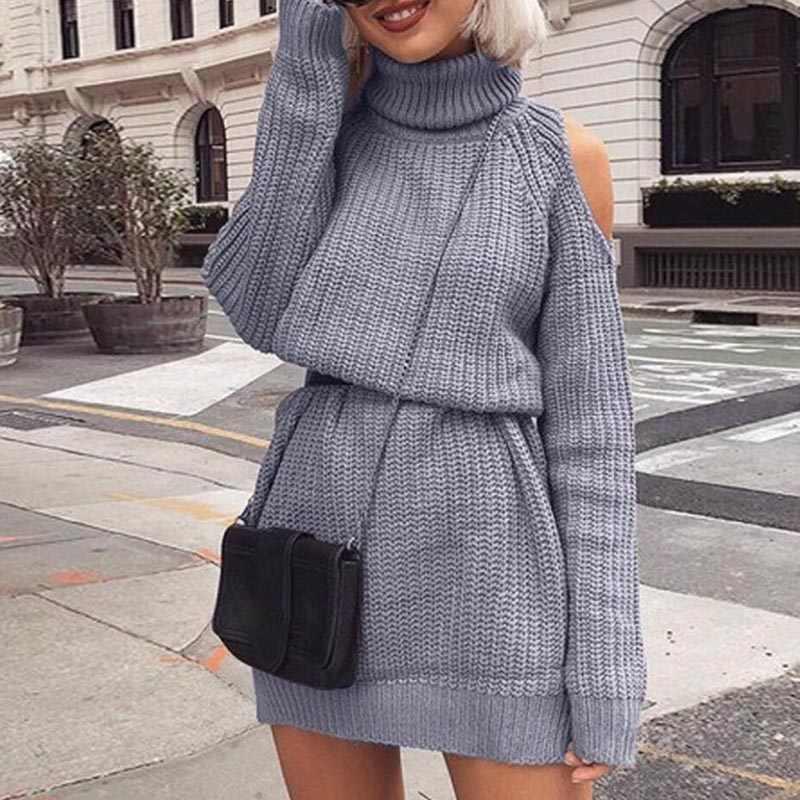 80ab967908d 2019 осень зима с открытыми плечами вязаный свитер платье повседневное  свободные женские длинные рукава Высокий воротник