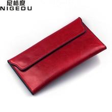 NIGEDU Brand Genuine Leather Women Wallet Long thin Purse Cowhide multiple Cards Holder Clutch bag Fashion Standard Wallet