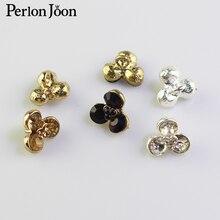 Rhinestone-Button Clothing Decoration-Accessories Crystal Metal Silver Fashion 12mm Three