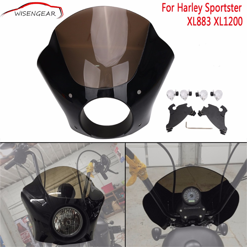 Front Fork Somke Fairing Mask Lock Mount For Harley Sportster Forty Eight 48 Seventy Two 72 XL 883 1200 Headlight Protection C/5 motorcycle chrome front spoiler chin fairing for harley sportster xl883 1200 04 15 new