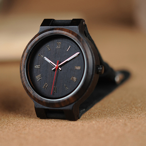 Image 3 - BOBO BIRD Wooden Timepieces Men Women Watch Leather Band  With Simple Anlaogue Display in Wooden Gift Box Accept Logo