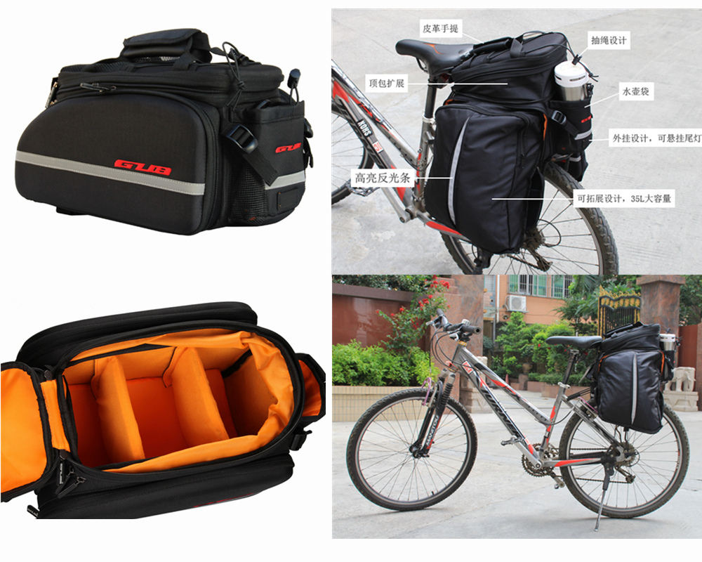 GUB 10-35L EVA Polyester Mountain Road Bicycle Bike Bag Cycling Double Side Rear Rack Tail Seat Trunk Bag Pannier roswheel 50l bicycle waterproof bag retro canvas bike carrier bag cycling double side rear rack tail seat trunk pannier two bags