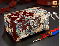 Christmas Birthday wedding High grade gift BEST present Retro TOP Hand carving wood Inlay shells Jewelry Lacquer Box