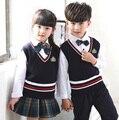 Niños niños Niñas Coreano Inglés Británico Azul Estudiante Uniforme Escolar Traje Ropa Set Camisa Chaleco Pantalones de Las Faldas Con Pajarita