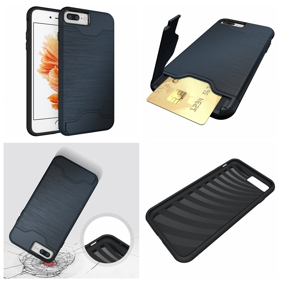 for iPhone 7 funda Luxury Slim Hybrid Credit Card pocket wallet pouch Phone case PC Back Cover for Apple iPhone 6S 6s Plus Coque (2)