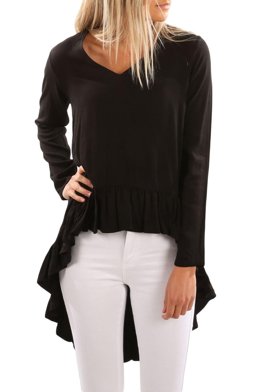 Women V Neck Longer Frilled Hem Back Top Autumn Full Sleeve Irregular Long T shirt 3 Colors Plus Size Streetwear Shirts Tops