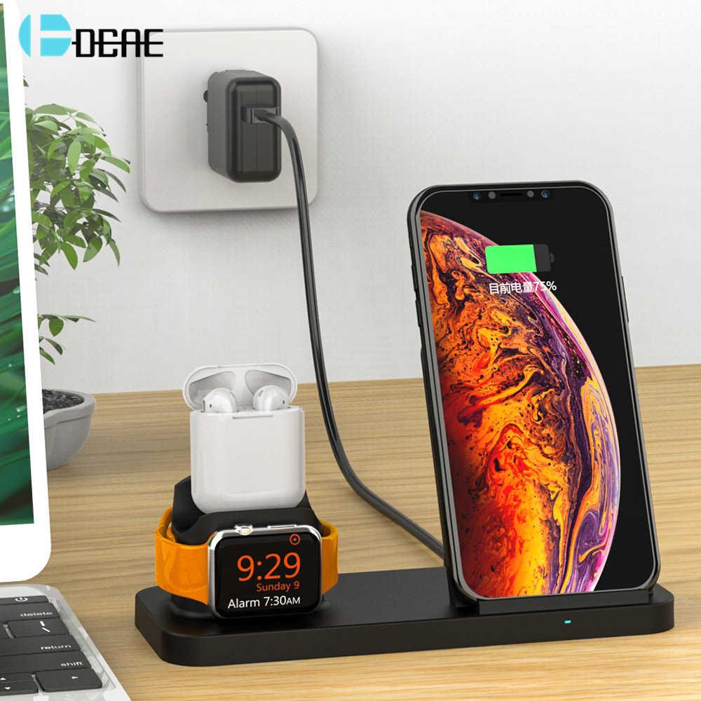 Cargador inalámbrico DCAE 10W Qi para iPhone XS XR X 8 Plus Apple Watch 4 3 2 Airpods soporte de carga rápida base para Samsung S9 S8