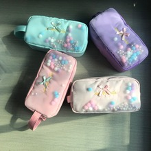 Cute Flowing Small Bubble Balls Pencil Bag Kawaii Stationery Pen Case for School Girl Bow Knot Pencil Case Candy Color Pens Hold