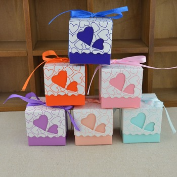 heart colorful candy chocolate paper gift box for wedding birthday tea party favor decoration DHL fedex EMS