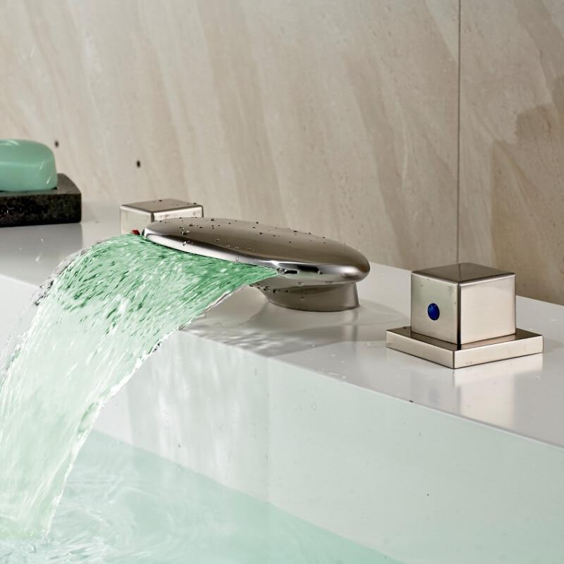 New Brushed Nickel 3pcs Waterfall LED 3 Colors Bath Sink Basin Faucet Dual Handles Widespread Bathroom