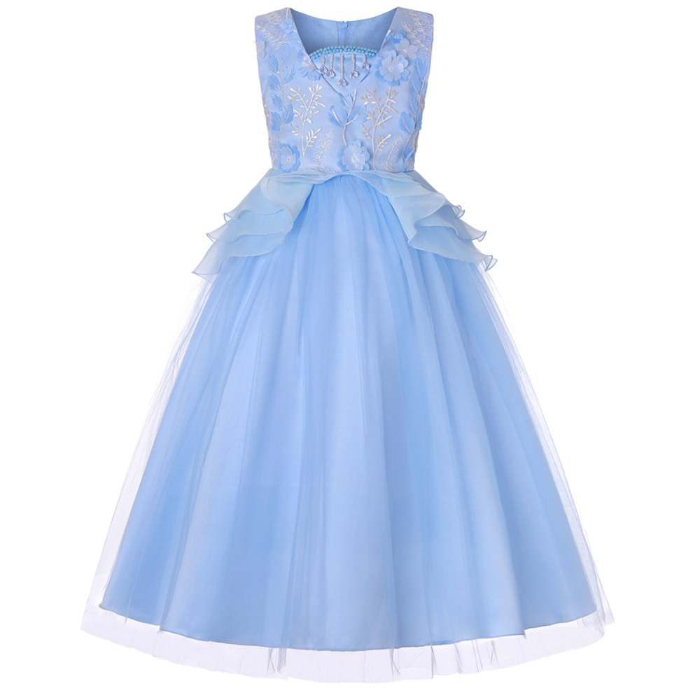 Fashion New Children's Dress for Girls Wedding Evening Party Gown Sleeveless Tulle Long Dresses Princess Prom Flower Girls Dress
