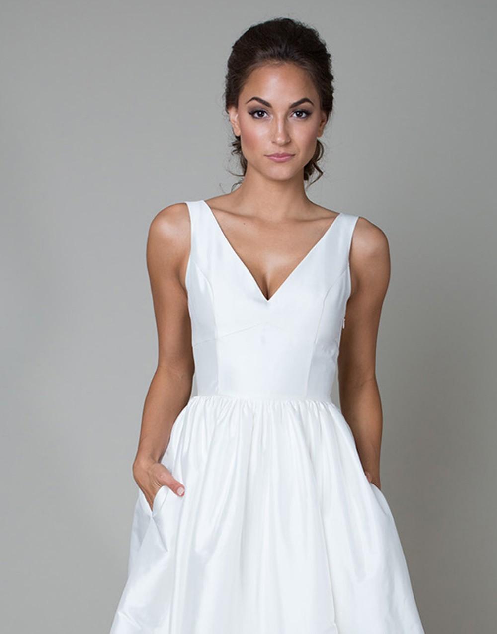 Vintage long white summer boho beach wedding dress with pockets 2015 v neck see through bridal gowns vestidos de noiva UD-442 4