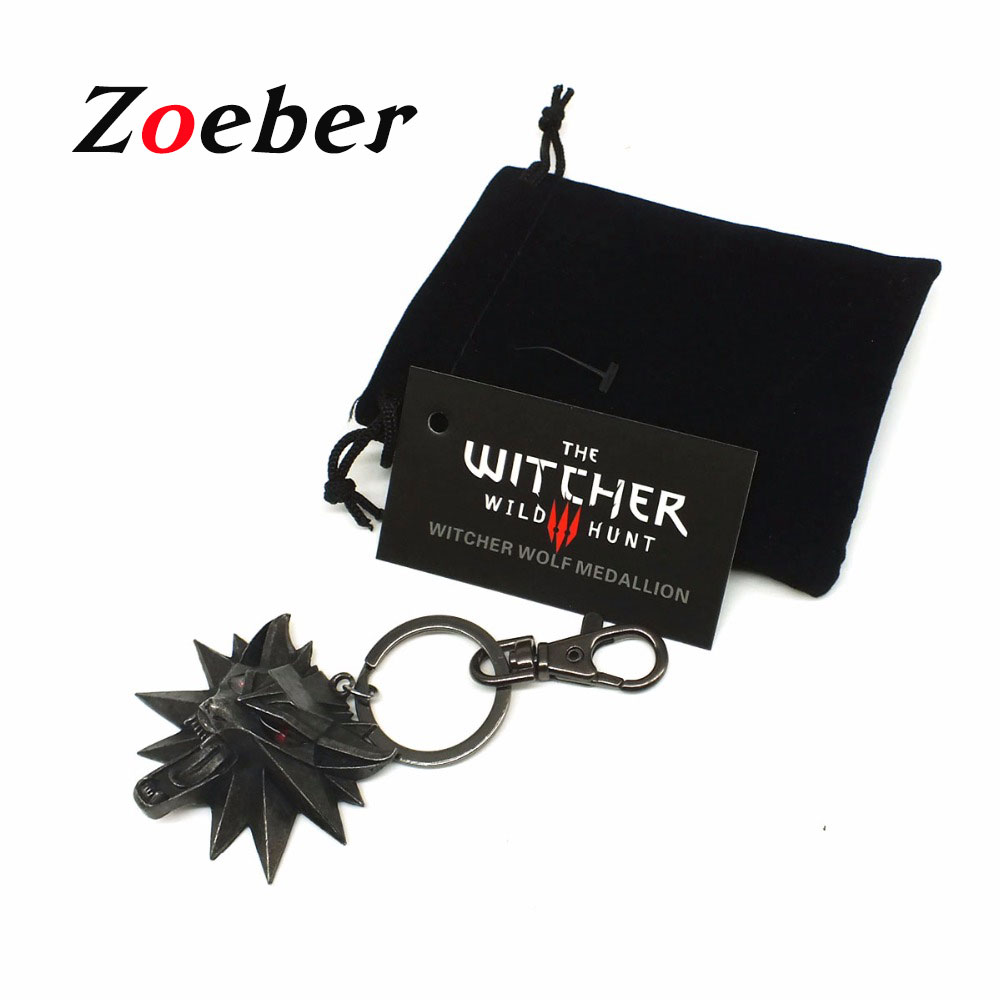 ZOEBER The Witcher 3 Wild Hunt Medallion Video Game Keychain Key Ring The Wild Hunt 3 Figure Game Wolf Head Alloy Key Chains