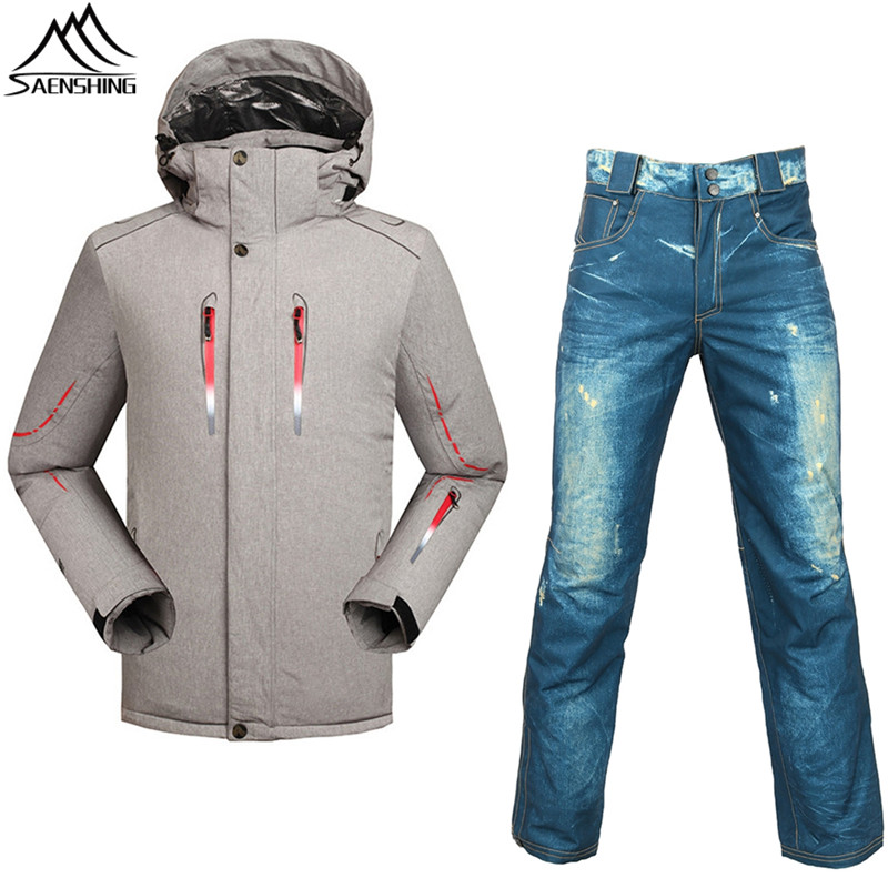 все цены на Saenshing New Ski suit men skiing and Snowboarding sets Super Warm waterproof snowboard jacket+ski pant winter snow Suits male