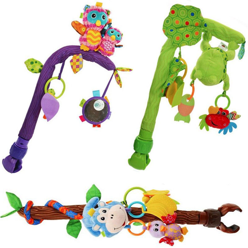 Multifunction baby play stroller Bendable Flexible car bed clip plush lathe hang hanging Seat animal owl monkey rattle Toys 28%