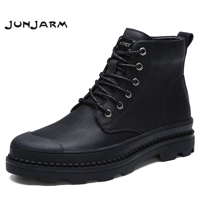 JUNJARM Genuine Leather Motocycle Men Boots Men Winter Shoes Quality Men Work Boots Warm Men Snow Boots Big Size 38-47